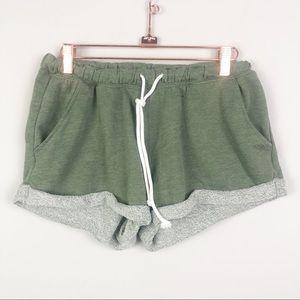 DIVIDED   H&M Green Cuffed Drawstring Shorts Small